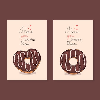 Congratulations on valentine's day. cards with donuts.