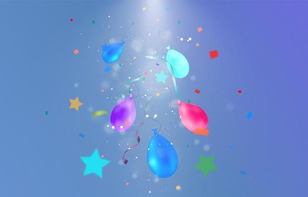 많은 떨어지는 입자와 화환이 있는 축하 그림