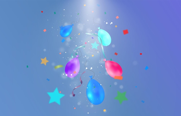 Congratulatory illustration with many falling particles and garlands