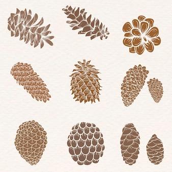 Conifer cone sticker set