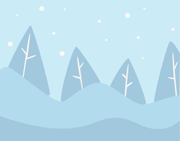 雪に覆われた丘と山頂、冬の自然のある針葉樹林。降雪吹雪と松の木の眺め。ジュニパーの森の寒さと氷点下の気温。冬の季節。フラットスタイルのベクトル