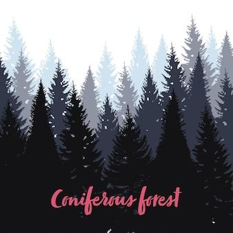 Хвойный лес фон вечнозеленый пейзаж сосны ель рождественская елка векторный силуэт