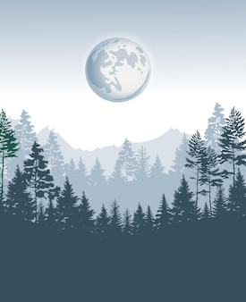 Coniferous forest design template with pine trees