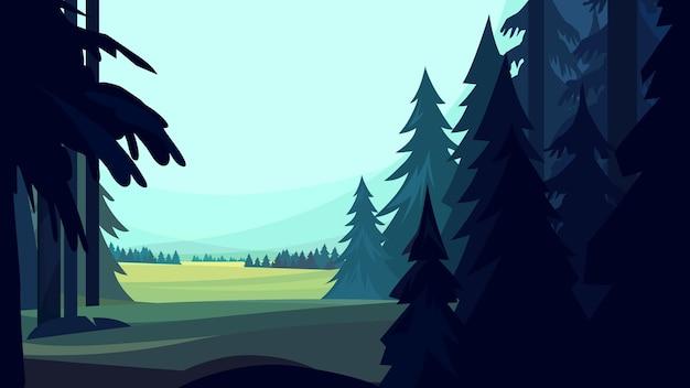 Хвойный лес в мультяшном стиле. красивый природный пейзаж.