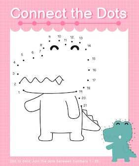 Connect the dots alligator - dot to dot games for children counting number 1-20