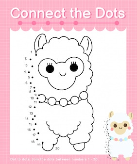 Connect the dots: alpaca - dot to dot games for children counting number 1-20