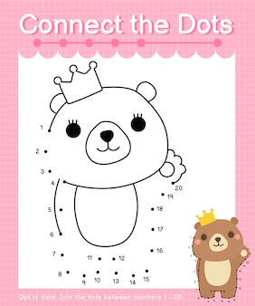 Connect the dots: bear - dot to dot games for children counting number 1-20
