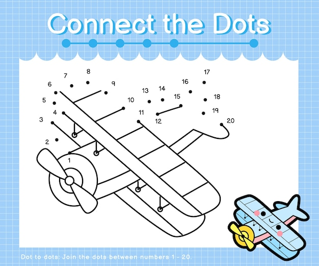 Connect the dots biplane - dot to dot games for children counting number 1-20