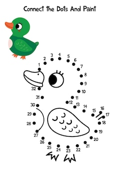 Connect the dots and coloring page duck  vector illustration