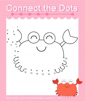 Connect the dots: crab - dot to dot games for children counting number 1-20