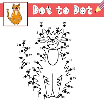 Connect the dots and draw a cute cat dot to dot game educational page for kids