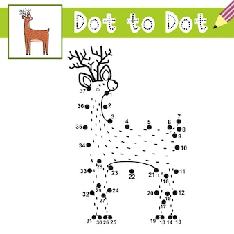 Connect the dots and draw a cute deer dot to dot game with funny reindeer educational page for kids