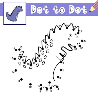 Connect the dots and draw a cute dinosaur dot to dot game with tyrannosaurus rex educational page for kids
