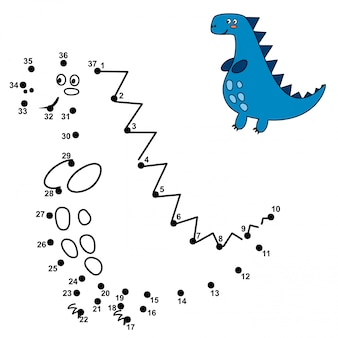 Connect the dots and draw a cute dinosaur. numbers game for children. illustration