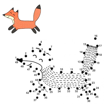 Connect the dots and draw a cute fox. numbers game for children. illustration