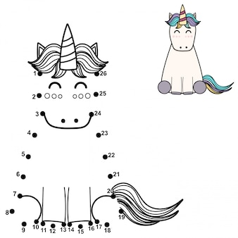 Connect the dots and draw a cute unicorn. numbers game for children.   illustration