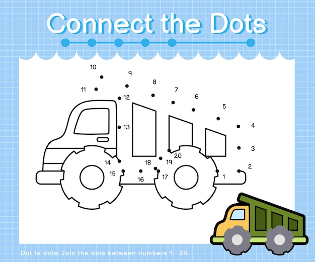 Connect the dots drumptruck - dot to dot games for children counting number 1-20