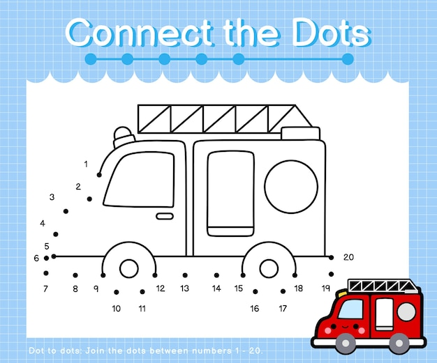 Connect the dots fire truck - dot to dot games for children counting number 1-20