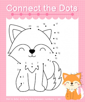 Connect the dots: fox - dot to dot games for children counting number 1-20