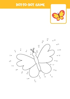Connect the dots game with cartoon butterfly educational worksheet