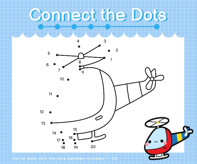 Connect the dots helicopter - dot to dot games for children counting number 1-20