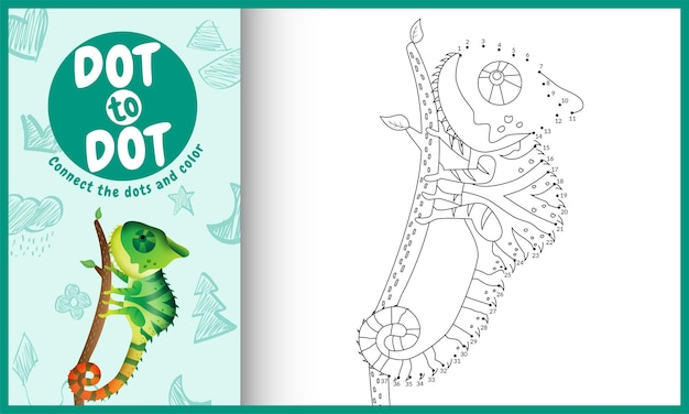 Connect the dots kids game and coloring page with a cute chameleon