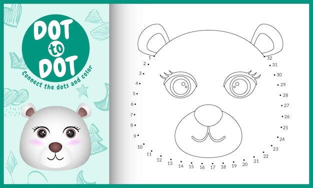 Connect the dots kids game and coloring page with a cute face polar bear character illustration