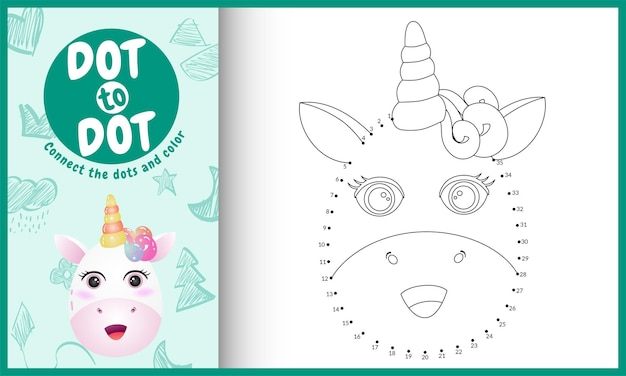Connect the dots kids game and coloring page with a cute face unicorn character illustration
