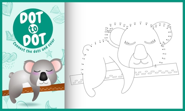 Connect the dots kids game and coloring page with a cute koala character