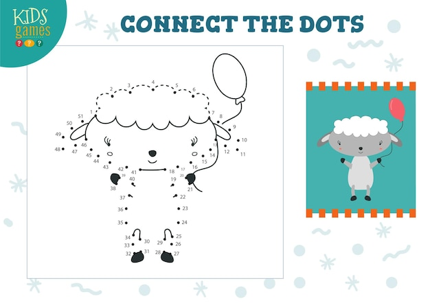 Connect the dots kids game   illustration preschool children drawing activity with joining dot to dot cute little sheep character