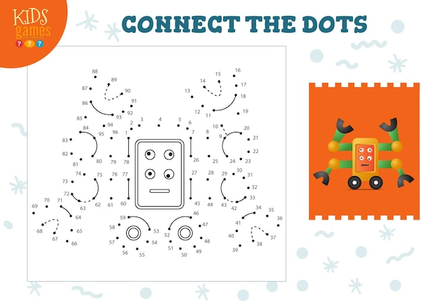 Connect the dots kids game vector illustration. kindergarten children educational activity with joining dot to dot worksheet with funny four arms cartoon robotic character