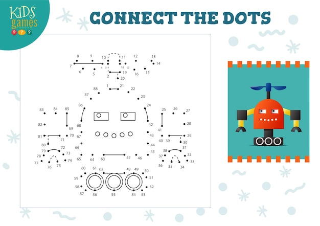 Connect the dots kids game vector illustration. preschool children education activity with joining dot to dot and coloring funny cute robot character