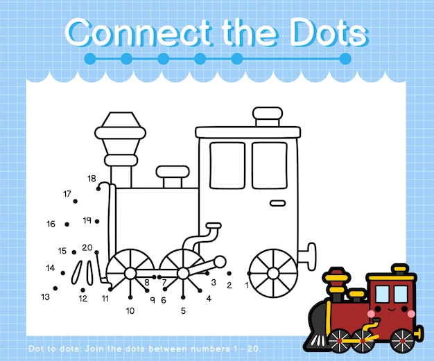 Connect the dots locomotive - dot to dot games for children counting number 1-20
