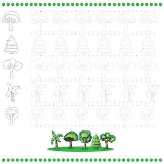 Connect the dots number of images - exercise for kids - trees
