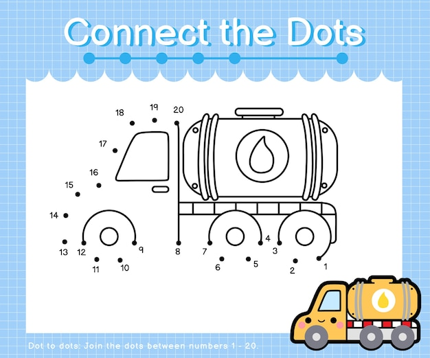 Connect the dots oil tank truck - dot to dot games for children counting number