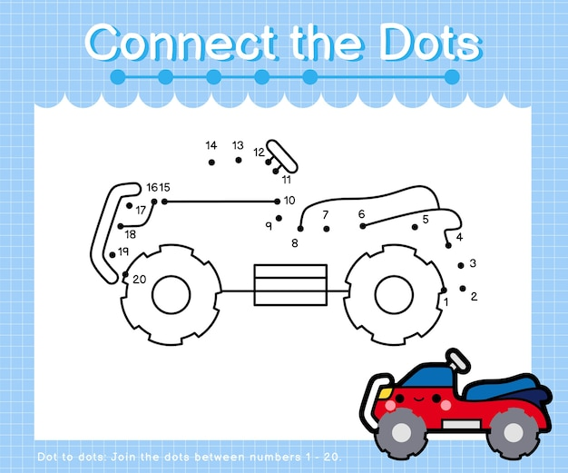 Connect the dots quad bike - dot to dot games for children counting number