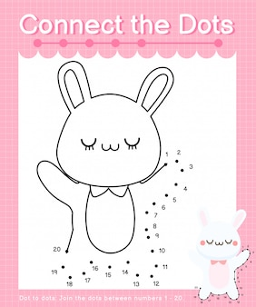 Connect the dots: rabbit - dot to dot games for children counting number 1-20