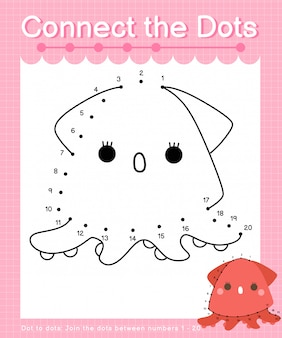 Connect the dots: squid - dot to dot games for children counting number 1-20