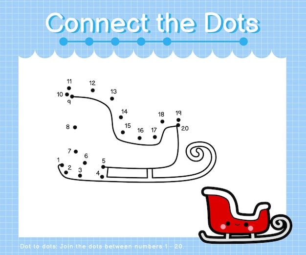 Connect the dots xmas sleigh - dot to dot games for children counting number