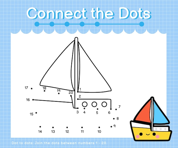 Connect the dots yacht - dot to dot games for children counting number