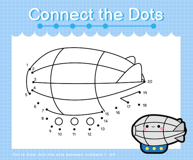 Connect the dots zeppelin - dot to dot games for children counting number