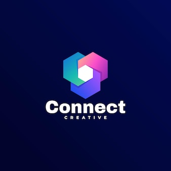 Connect gradient colorful style logo