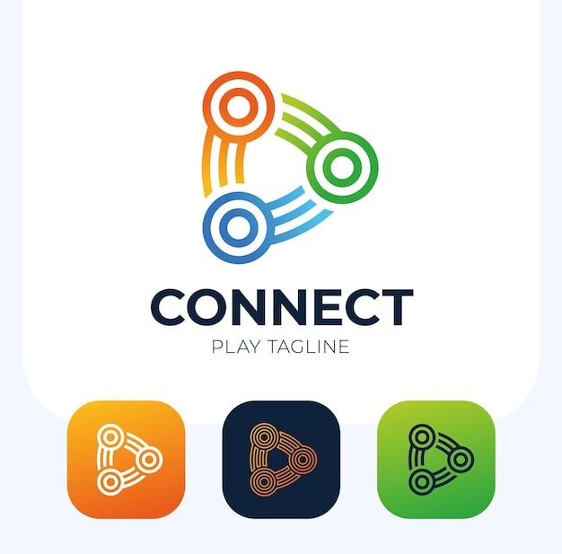 재생 버튼 로고를 연결합니다. 삼각형 및 원형 모양 로고 디자인과 연결 연결