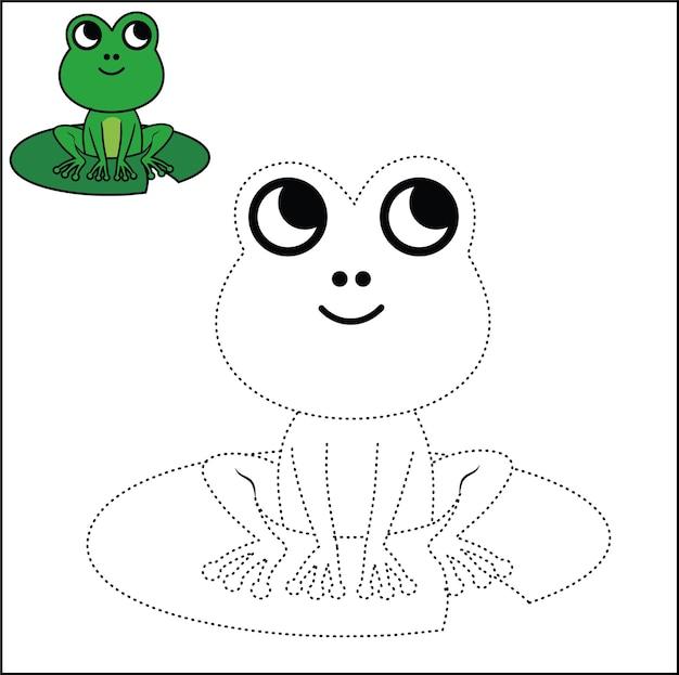 Соедините точки и раскраски страницу лягушка векторная иллюстрация