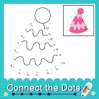 1에서 20까지의 숫자를 세는 점을 파티 모자와 연결하십시오.