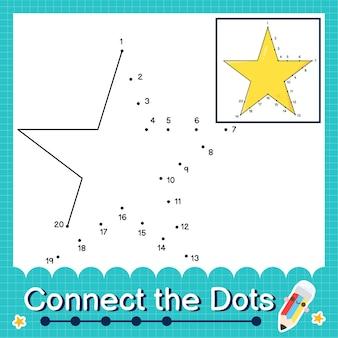 점을 세는 숫자 1에서 20까지의 퍼즐 워크시트를 sta와 연결하세요.