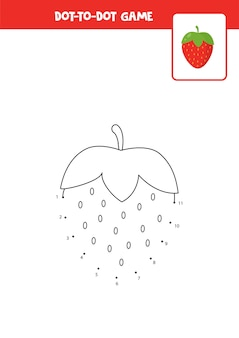 Игра «соедините точки» с мультяшной клубникой. учебный лист.