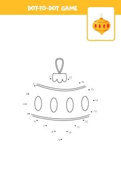 Соедините точки игры с елочным шаром. учебный лист.