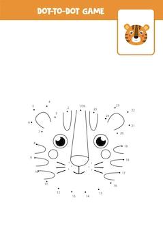 Соедините игру в точки с милой мордочкой тигра. учебный лист.