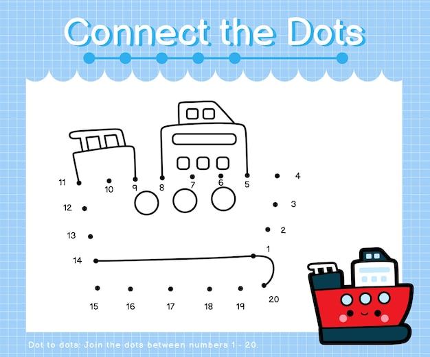 Соедините точки ледокол - игра точка-точка для детей на счет от 1 до 20